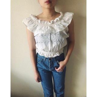 エディットフォールル(EDIT.FOR LULU)の美品 定価10,800円  70s cotton furilly blouse (シャツ/ブラウス(半袖/袖なし))