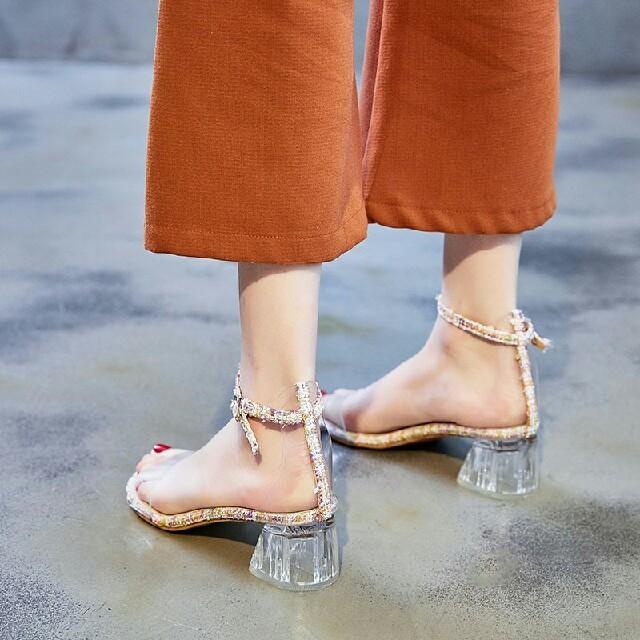 新作 夏 レディース 美脚  透明 クリア ハイヒール  サンダル ピンク レディースの靴/シューズ(サンダル)の商品写真