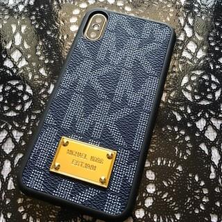 マイケルコース(Michael Kors)の箱なし iPhoneX XS ネイビー ハードケース モノグラム 黒縁(iPhoneケース)