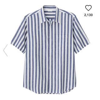 GU - 新品☆ジーユー☆リネン ブレンドシャツ  ストライプ
