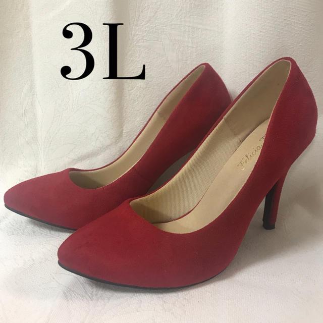 ハイヒール スエード調 レッド 3L レディースの靴/シューズ(ハイヒール/パンプス)の商品写真