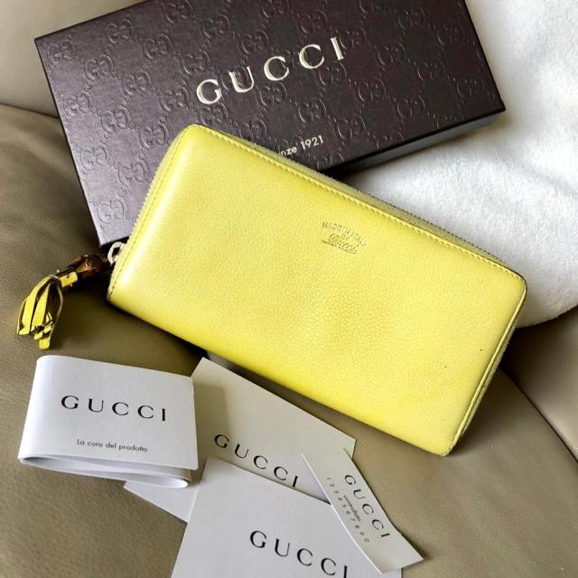 Gucci - GUCCI グッチ♡バンブー♡長財布♡ラウンドファスナー♡イエロー 黄色♡箱の通販 by S's shop|グッチならラクマ
