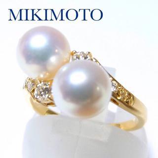 ミキモト(MIKIMOTO)のミキモト k18YG アコヤパール ダイヤモンド リング 8号(リング(指輪))