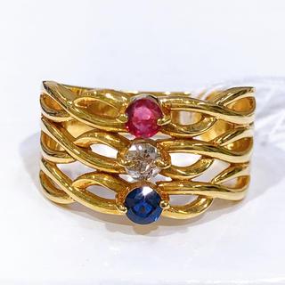 K18 ルビー サファイア ダイヤモンド リング(リング(指輪))
