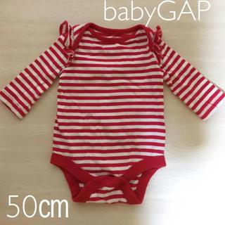 ベビーギャップ(babyGAP)のbabygap ボーダー ロンパース 50センチ(ロンパース)