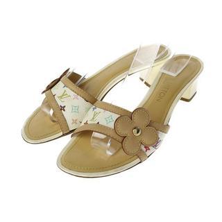 LVルイヴィトンマルチカラーモノグラムフラワーモチーフヒールサンダル靴(サンダル)