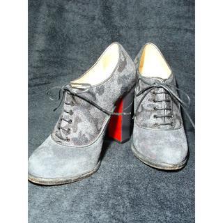 クリスチャンルブタン(Christian Louboutin)のクリスチャンルブタン迷彩カモフラ柄スエードレザーウールレースアップブーティ靴(ブーティ)