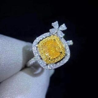 GIA♡リボンFancy Yellowダイヤモンドリング(リング(指輪))