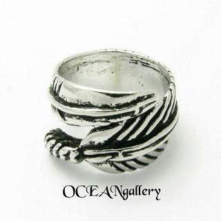 送料無料 14号 シルバーフェザーリング 指輪 シンプル フェザー 羽根 リング(リング(指輪))