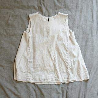ジーユー(GU)のGU リネンブレンドAラインブラウス ノースリーブ ナチュラル (シャツ/ブラウス(半袖/袖なし))