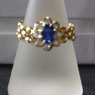 K18 0・60 (サファイア)  0・18(ダイヤモンド)チェーンリング(リング(指輪))