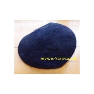 コムサイズム(COMME CA ISM)の未使用★コムサイズム アンゴラ帽子 57cm 黒 ファー(ハンチング/ベレー帽)