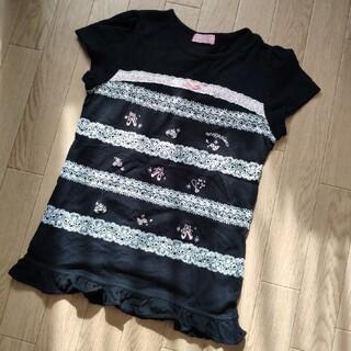 メゾピアノジュニア(mezzo piano junior)のメゾピアノ レースプリント Tシャツ L(Tシャツ/カットソー)