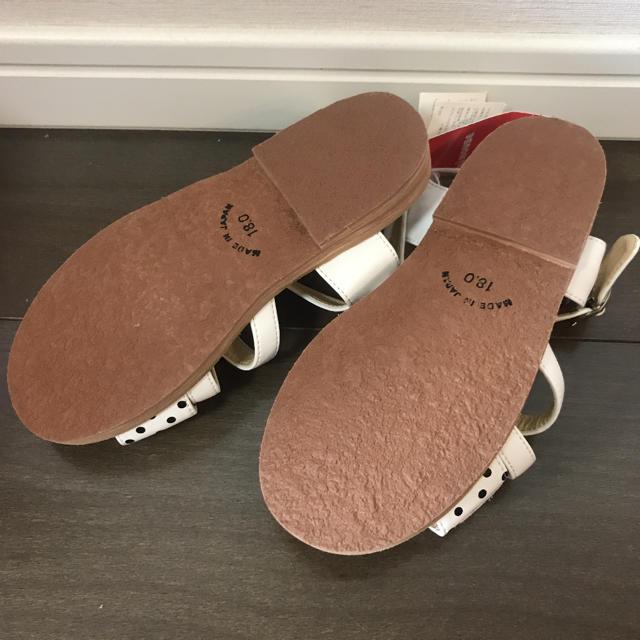 mikihouse(ミキハウス)の新品:ミキハウス ドット柄 サンダル 18cm キッズ/ベビー/マタニティのキッズ靴/シューズ (15cm~)(サンダル)の商品写真