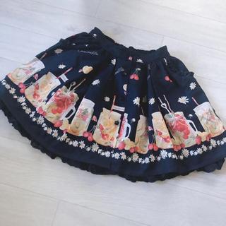 リズリサ(LIZ LISA)のリズリサ 美品 ふんわりスカート フルーツ柄 夢かわ レース 花柄 ネイビー 紺(ひざ丈スカート)