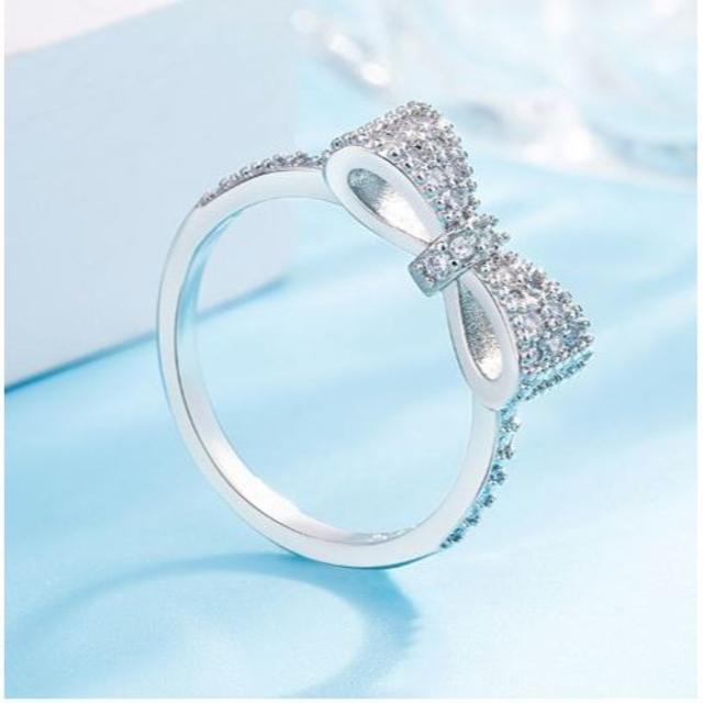 指輪 レディース リボン かわいい 蝶結び パヴェ リング シルバー レディースのアクセサリー(リング(指輪))の商品写真