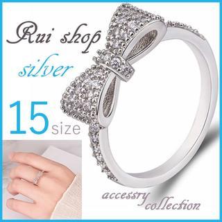 指輪 レディース リボン かわいい 蝶結び パヴェ リング シルバー(リング(指輪))