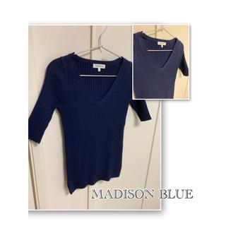 マディソンブルー(MADISONBLUE)のmadison blue ネイビー 5部丈 ニット レディース 00 A012(ニット/セーター)