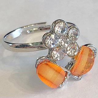 送料無料キラキラ可愛いお花リング ラメ入りフラワー指輪発表会結婚式オレンジ(リング(指輪))