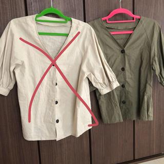 ジーユー(GU)のリネンブレンドフロントボタンブラウス!!GU、ブラウス(シャツ/ブラウス(半袖/袖なし))