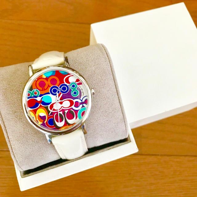 COACH - 【美品!!】LADIES COACH C総柄 腕時計 カラフル×ホワイト🎀の通販 by リラックス's shop|コーチならラクマ