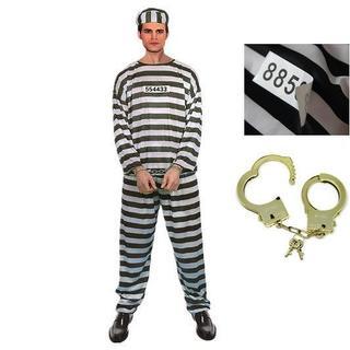 囚人服 5点セット 上下 帽子 囚人番号シール 手錠 //bbs(衣装一式)