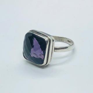 90年代 925 silver 大粒パープルストーン シルバーリング SR235(リング(指輪))