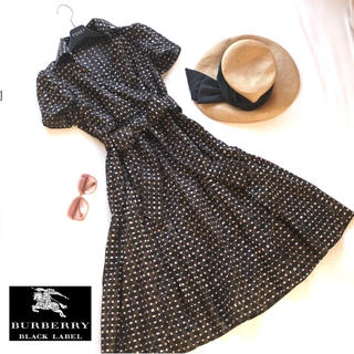 バーバリーブラックレーベル(BURBERRY BLACK LABEL)の美品 バーバリーブラックレーベル ロゴ カシュクールシャツワンピース(ひざ丈ワンピース)