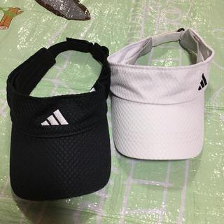 adidas - アディダス サンバイザー  黒×白 セット