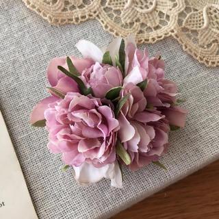 ローズピンクバラとラベンダー、パープル紫陽花のコサージュ(コサージュ/ブローチ)