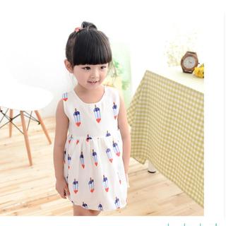 「90-130cm」韓国子供服 ノースリーブワンピース アイスバー(ワンピース)