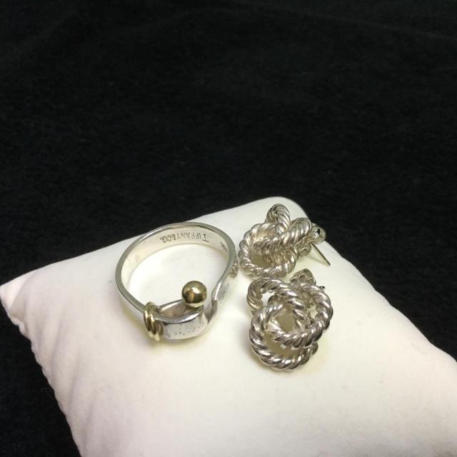 Tiffany & Co.(ティファニー)の【美品☆希少】ティファニーリングK18(750)シルバー&ロープデザインピアス レディースのアクセサリー(リング(指輪))の商品写真