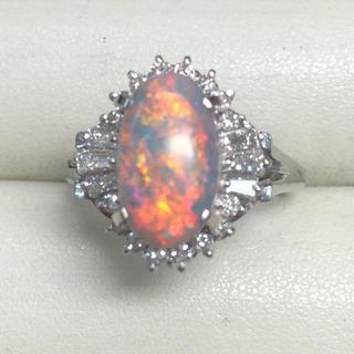 ★大きめの20号★プラチナPt900オパール&ダイヤモンドリング★2.40ct(リング(指輪))