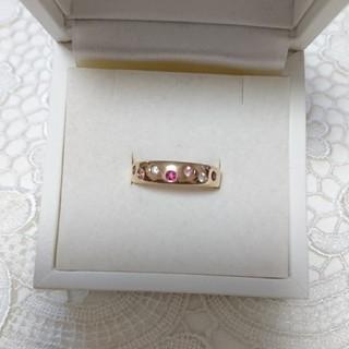 ヨンドシー(4℃)の4℃*K18 PG ルビー/ピンクサファイア/ダイヤモンドリング(リング(指輪))
