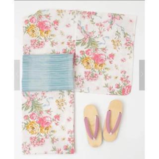 メゾンドフルール(Maison de FLEUR)の新品レア♡《ライトピンク》パリブーケ柄浴衣♡メゾンドフルール(浴衣)