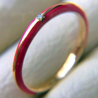 スタージュエリー(STAR JEWELRY)のk10 スタージュエリー  レッド エナメル ダイヤモンドリング(リング(指輪))