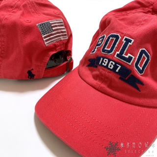 ポロラルフローレン(POLO RALPH LAUREN)の新品 ラルフローレン コットンチノベースボールキャップ 53㎝ レッド(帽子)