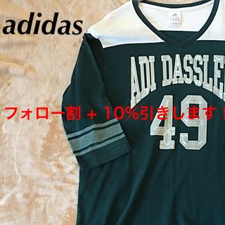 adidas - 期間限定SALE】アディダス Tシャツ 七分袖 カットソー 刺繍ロゴビッグロゴ