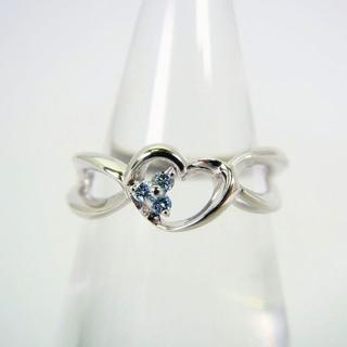K18WG ブルーダイヤモンド ハート リング 7号[f34-16](リング(指輪))