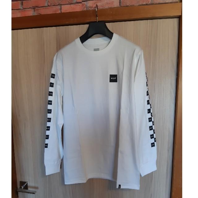 HUF(ハフ)の新品未使用品★HUF★ブロックチェッカー長袖ロゴTシャツ ロンT 白M ホワイト メンズのトップス(Tシャツ/カットソー(七分/長袖))の商品写真