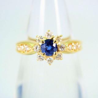 K18 サファイア ダイヤモンド リング 6号[f34-7](リング(指輪))