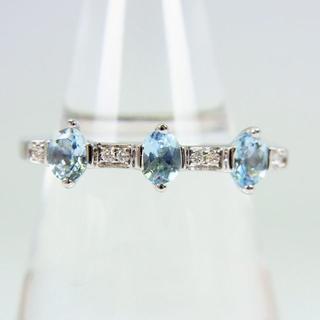 値下げ750WG アクアマリン ダイヤモンド リング 14.5号[f35-7](リング(指輪))