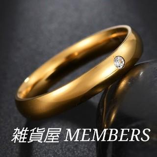 送料無料15号イエローゴールドワンポイントスーパーCZダイヤステンレスリング指輪(リング(指輪))