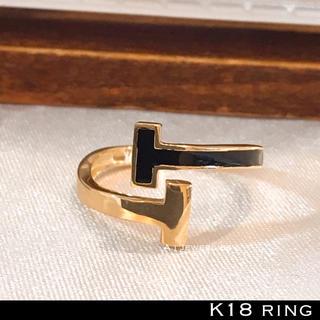 リング 18金 シンプル k18 ブラック 黒色 リング (リング(指輪))