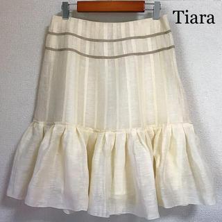 tiara - Tiara ティアラ リネン フリル フレアスカート アイボリー 大きいサイズ