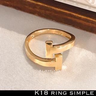 リング 18金 シンプル k18 イエロー ゴールド 地金系 リング (リング(指輪))