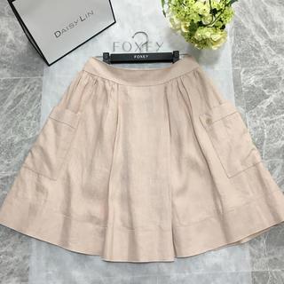 フォクシー(FOXEY)の美品 フォクシー FOXEY デイジーリン 洗えるリネン フレア スカート 40(ひざ丈スカート)
