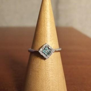 アガット(agete)のK18WGダイヤモンド×トルマリンスクエアリング(12号)(リング(指輪))