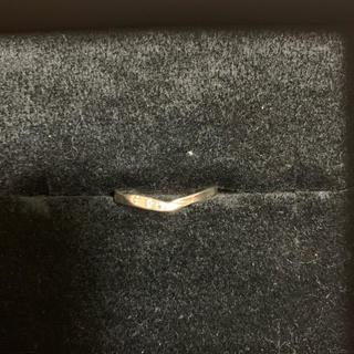 V字型シルバーリング CZ3石付き 19号 美品(リング(指輪))