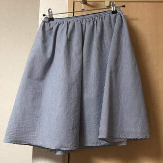 イーハイフンワールドギャラリー(E hyphen world gallery)のストライプスカート ネイビー(ひざ丈スカート)